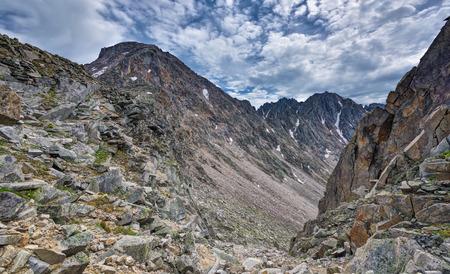tunka range: View on the descent from the mountain range. Eastern Sayan. The Republic Of Buryatia.Russia