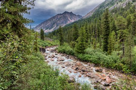 tunka range: Mountain river in cloudy weather. Eastern Sayan. Buryatia