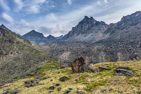 alpine tundra: Alpine tundra under the ridge. Eastern Sayan. Buryatia
