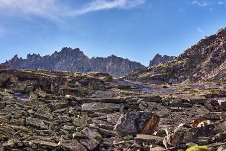 Large pieces of granite in the process of erosion. Eastern Sayan.The Republic of Buryatia