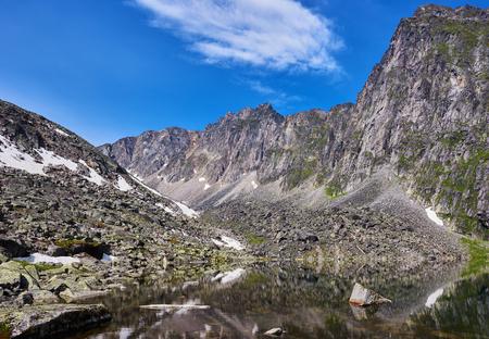 Edge clean lake at the mountain wall. Eastern Sayan.Siberia