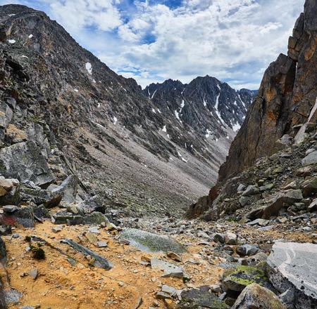 tunka range: Trail to the mountain pass down the steep mountains. Eastern Sayan. The Republic of Buryatia