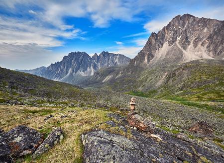 tunka range: Pyramid of stones - a pointer to the path in the mountain tundra. Eastern Sayan.The Republic of Buryatia