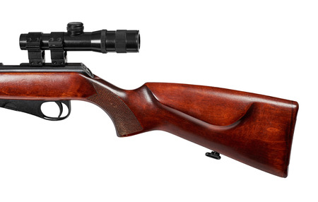 small butt: Classic wooden stock with cheek level ridge. Repeating small-bore rifle caliber 22 LR