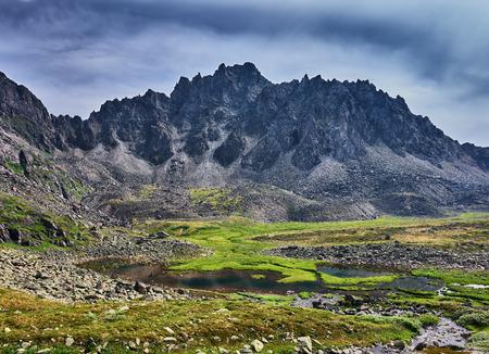 tunka range: Boggy tundra in the Siberian mountains. East Sayan