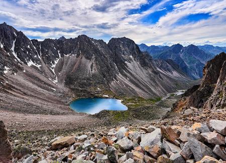 tunka range: Top view of a mountain circus and lake. Eastern Siberia. Russia Stock Photo