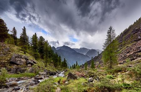 tunka range: Overcast over mountain stream. Eastern Sayan.Siberia Stock Photo