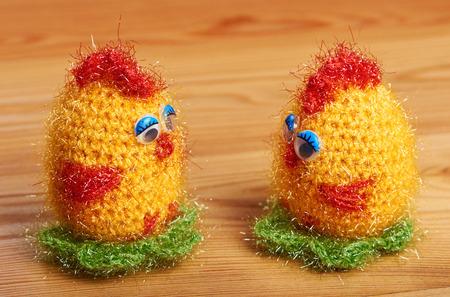 Crochet. Soft toy. Two chicken