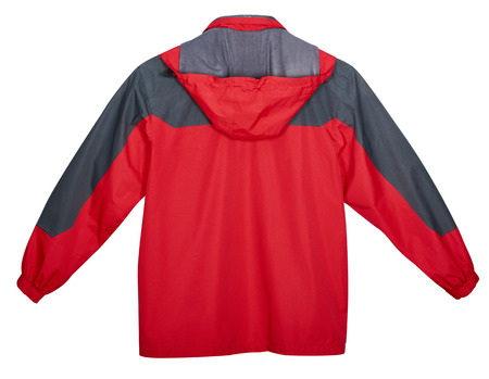 breathable: Red mens jacket outdoors, back view. Isolated on white background