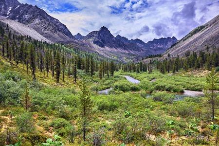 tunka range: Wonderful summer landscape in the mountains of Eastern Siberia . Tunka range. Russia
