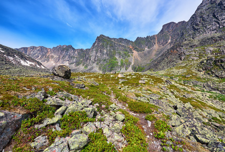 tunka range: Hiking trails in the mountains of Eastern Siberia . July Stock Photo
