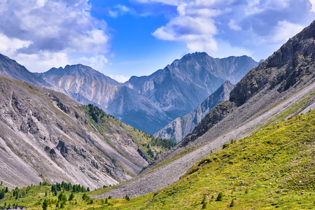 tunka range: Mountain slopes and the peak in the summer . Sayan mountains . Buryatia