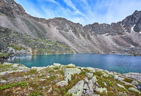 tunka range: Mountain Lake at a sports pass in the Eastern Sayan Mountains . Siberia. Russia Stock Photo