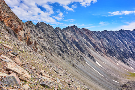 tunka range: Dividing Ridge in the form of a flat wall. Eastern Siberia. Russia