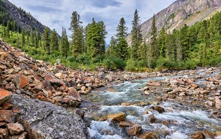 tunka range: Mountain forest at the small Siberian river . Eastern Sayan . Buryatia Stock Photo