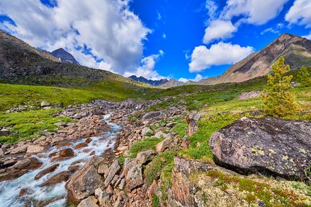 tunka range: Mountain stream summer sunny day . Alpine Tundra . Eastern Sayan mountains . Buryatia