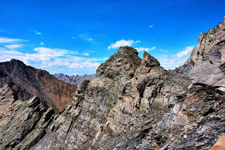 tunka range: Crest of  high ridge with a steep slope . Eastern Sayan mountains . Buryatia Stock Photo