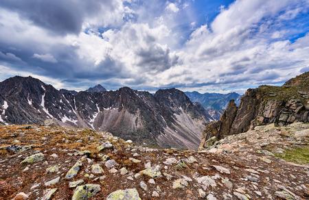 tunka range: Mountain pass and tragic sky . Eastern Sayan . Russia
