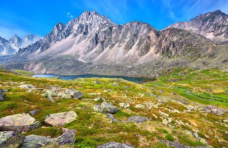 tunka range: Siberian Tundra in highlands at peak of lake. Eastern Sayan . Russia