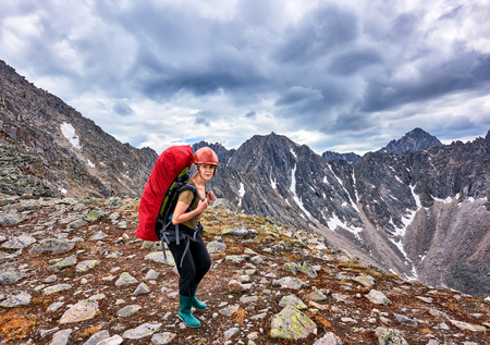tunka range: Hiking. Woman on pass . Eastern Sayan . Russia Stock Photo