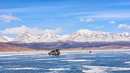 ice fishing: Ice Fishing . Lake Hovsgol . Mongolia