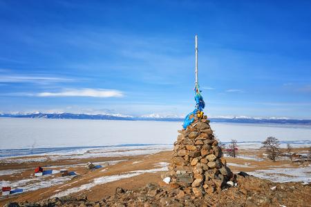 shamanic: Single Buddhist cairn on hill of Lake Hovsgol . Mongolia