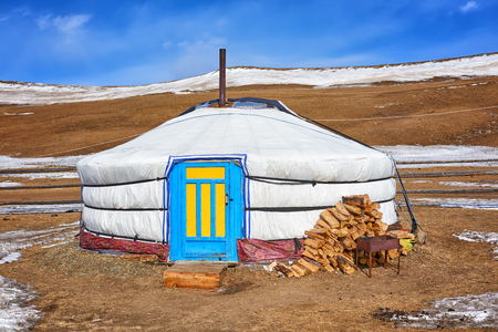 ger: Yurt - home of nomadic peoples of Central Asia. Single yurt Stock Photo