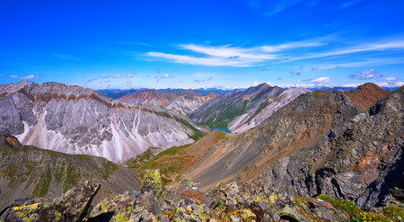 primordial: View from top of mountain country . Ranges of Eastern Sayan . Buryatia . Russia