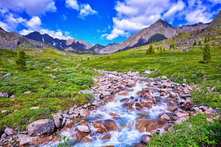 tunka range: Primordial nature of Eastern Siberia. Alpine Meadows Siberian highlands . Buryatia . Russia Stock Photo
