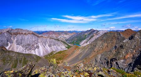 tunka range: View from top of mountain country . Ranges of Eastern Sayan . Buryatia . Russia