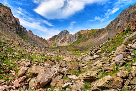 tunka range: Boulders at top of small mountain valley . Eastern Sayan . Russia Stock Photo