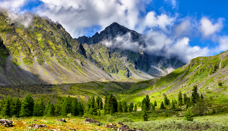 tunka range: Mountain landscape at edge of forest . Eastern Sayan . Russia Stock Photo