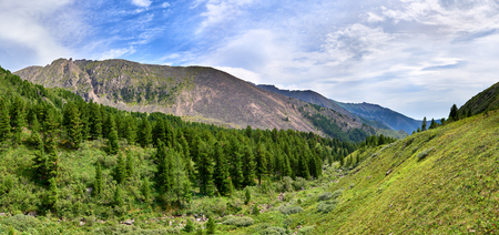 Mountain taiga on one slope of valleys and tundra. Eastern Sayan. Russia Stock Photo