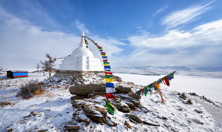 All good Stupa of Great Bliss. Awakening bestower of liberation upon sight. Tibetan Buddhism. Ogoy Island. Baikal Lake