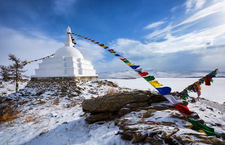 Enlightenment Stupa - a place of meditation on an uninhabited island on Lake Baikal. Irkutsk region. Russia Stock Photo