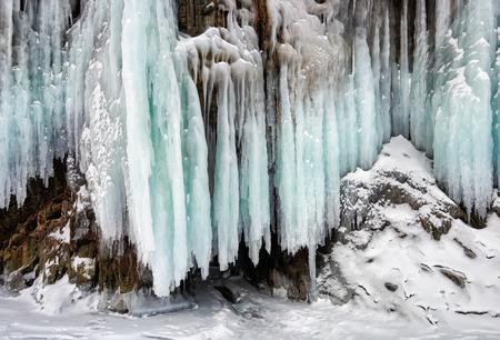 Beautiful color of splash ice on shore of Lake Baikal. Russia