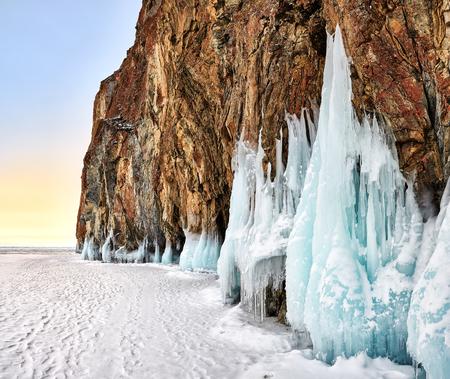 Dawn at Baikal cape in early March. Olkhon. Irkutsk region. Russia Stock Photo