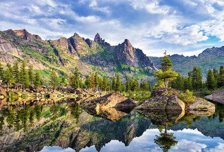 Picturesque lake in Siberian mountains. Nature Park Ergaki. Krasnoyarsk region. Russia