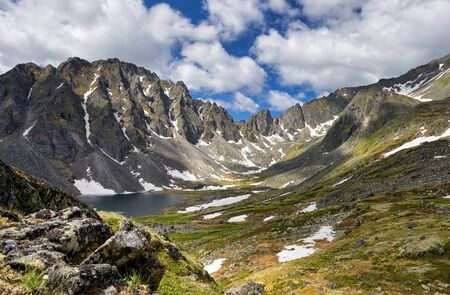 Siberian mountain tundra on summer afternoon. Eastern Sayan. Central Asia Stock Photo