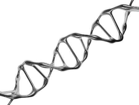 researchs: Steel DNA Spiral Isolated on a White Background