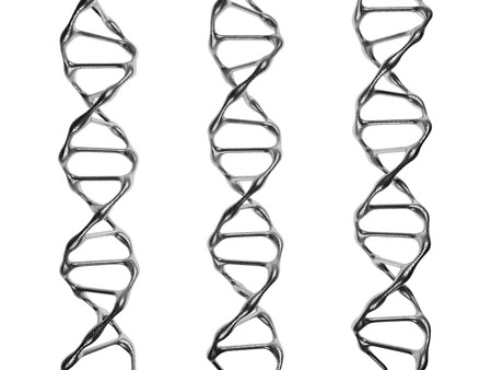 researchs: Three Steel DNA Spirals Isolated on a White Background
