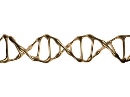Gold DNA Spiral Isolated on a White Background