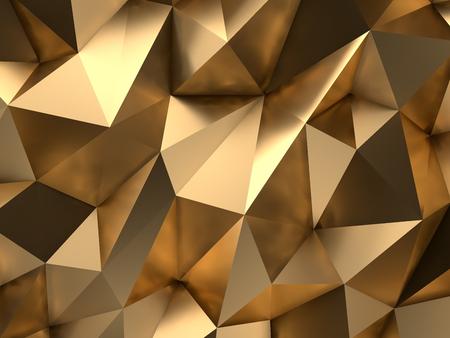 高級ゴールド抽象的なポリゴン背景 3 D レンダリング 写真素材
