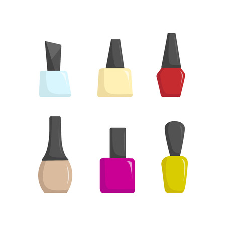 Nail polish colorful jars, vector illustration cartoon style EPS 10 Illustration