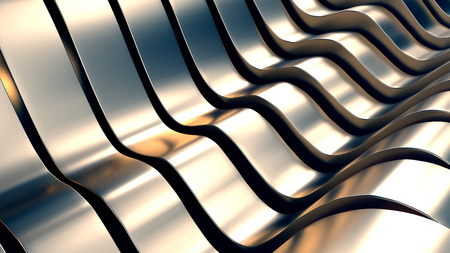 privilege: Metal Wave Shape with Reflections 3D Illustration