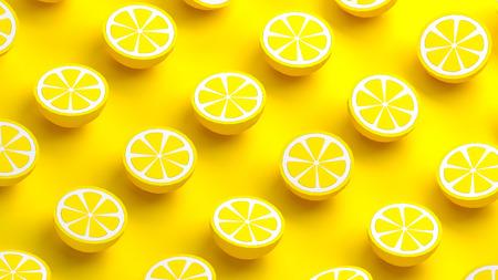 Collection of lemon fruits 3d illustration Фото со стока
