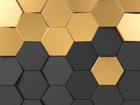 Hexagonal golden background. 3d rendering