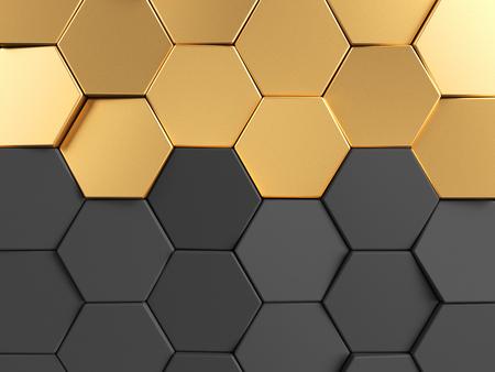 surface: Hexagonal golden background. 3d rendering