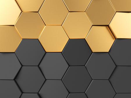 gold textured background: Hexagonal golden background. 3d rendering
