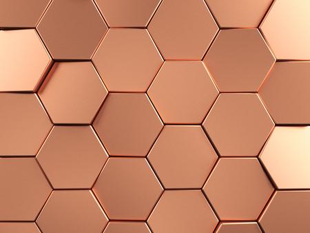 Rose Gold Zeshoekige achtergrond. 3D-rendering